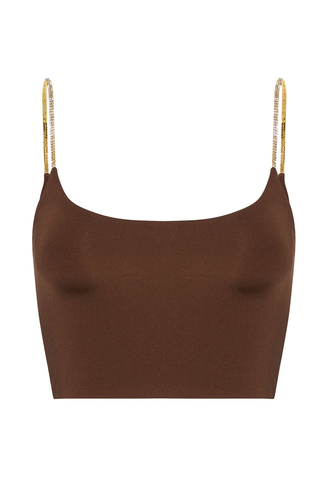 Elle Strappy Crop Top - Chocolate