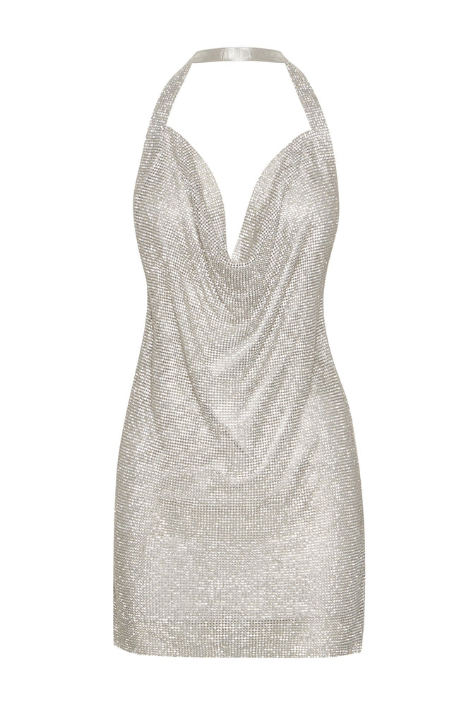 Meilani Low Back Diamante Mesh Mini Dress - Silver