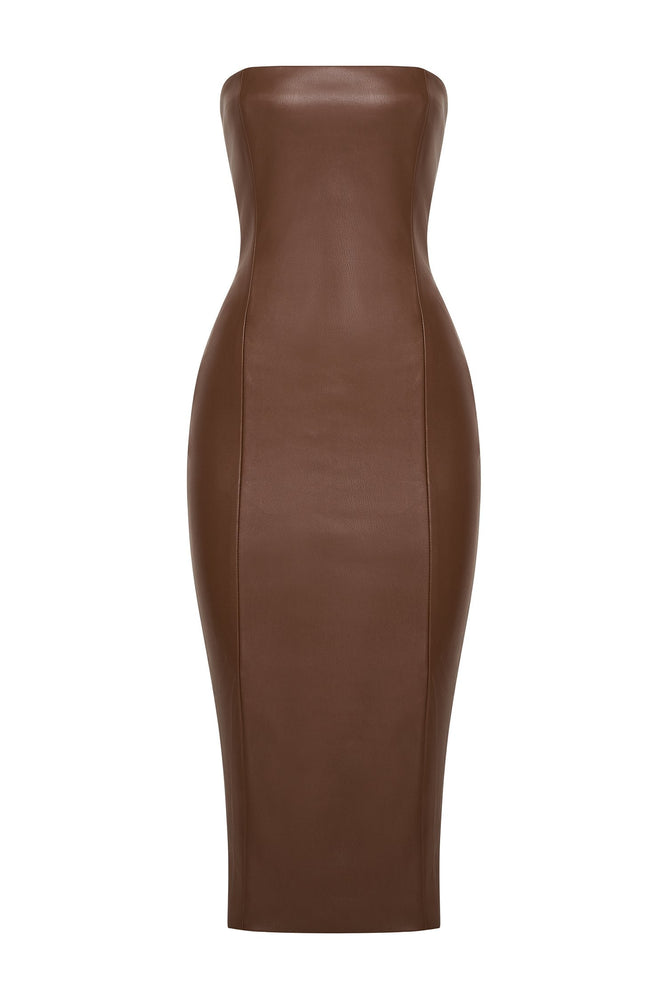 Pamela Strapless Faux Leather Dress - Chocolate