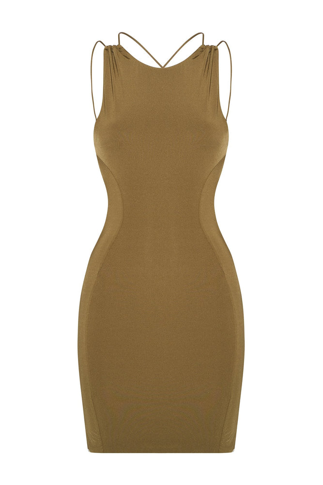 Gisele Sleeveless Halter Back Mini Dress - Khaki