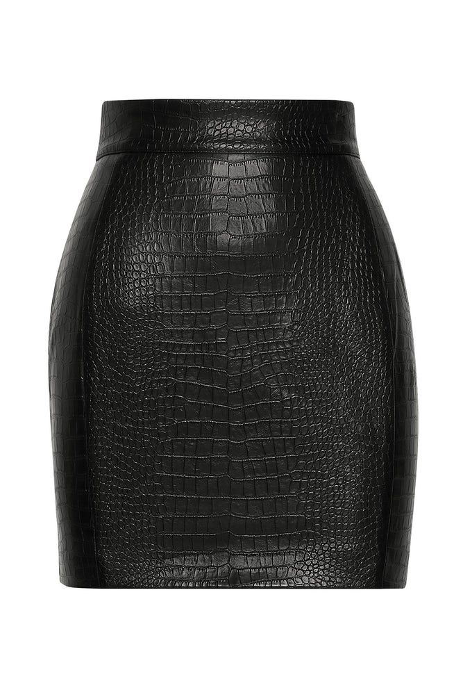 Annabelle Croc Bodycon Mini Skirt - Black