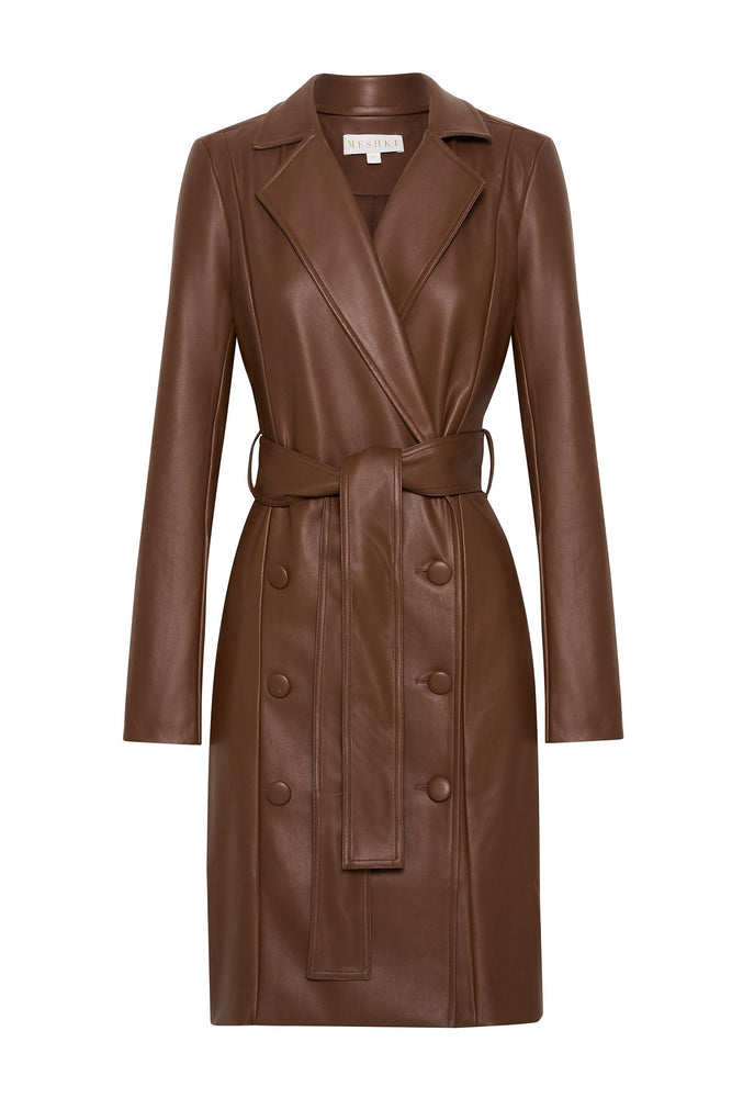 Farley Pu Trench Coat - Chocolate