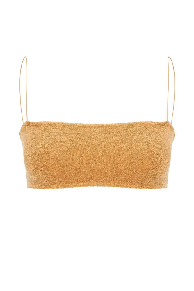 Marina Terry Towelling Thin Strap Crop Top - Biscuit