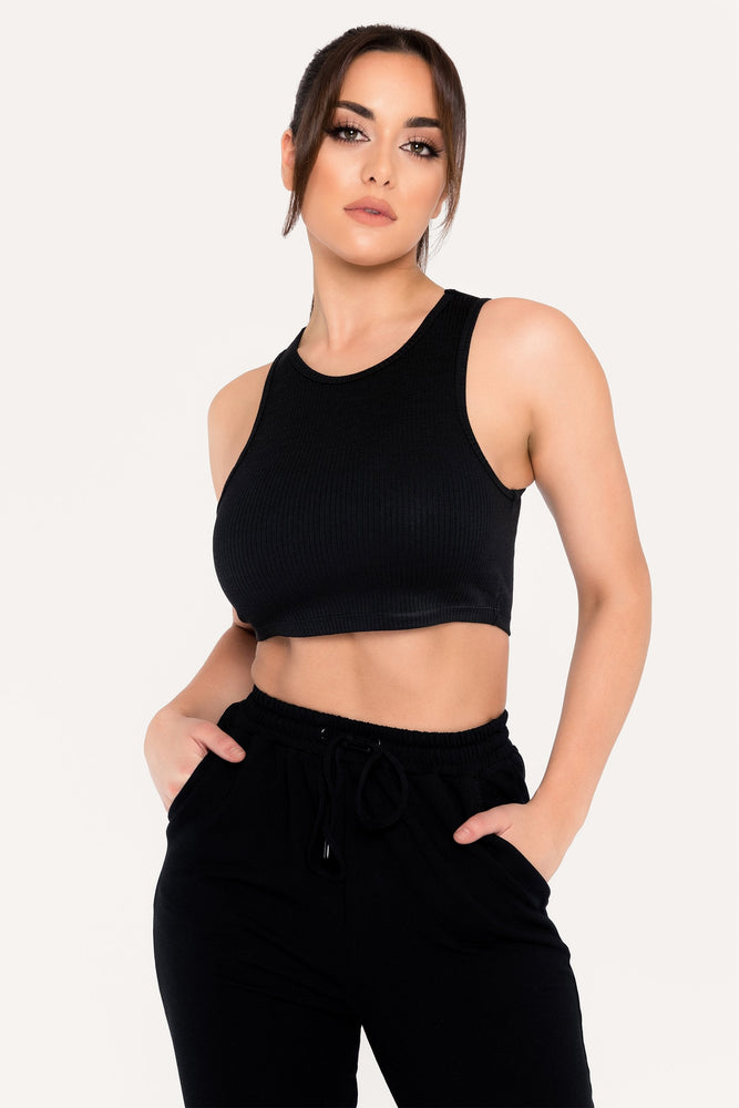 Becka Rib Sleeveless Crop Top - Black - MESHKI