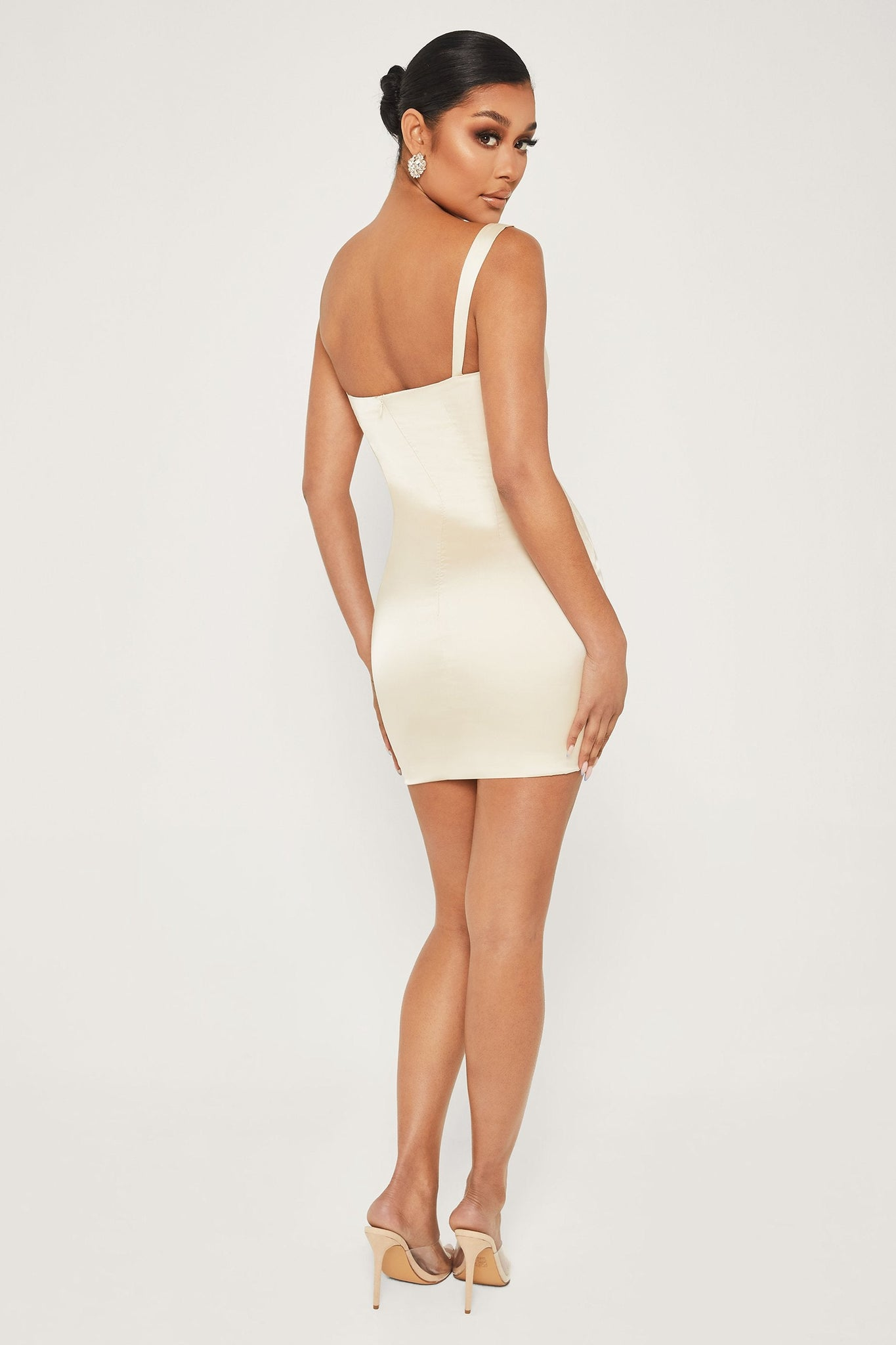 Mazie Satin Bodycon Dress - Champagne - MESHKI