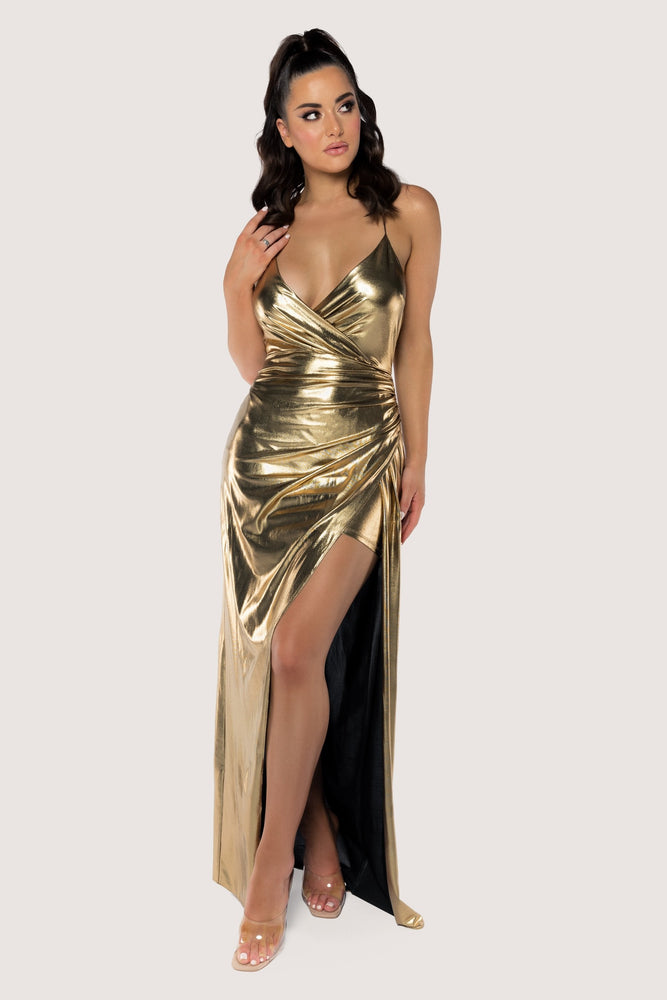 Hazel Wrap Drape Maxi Dress - Gold - MESHKI