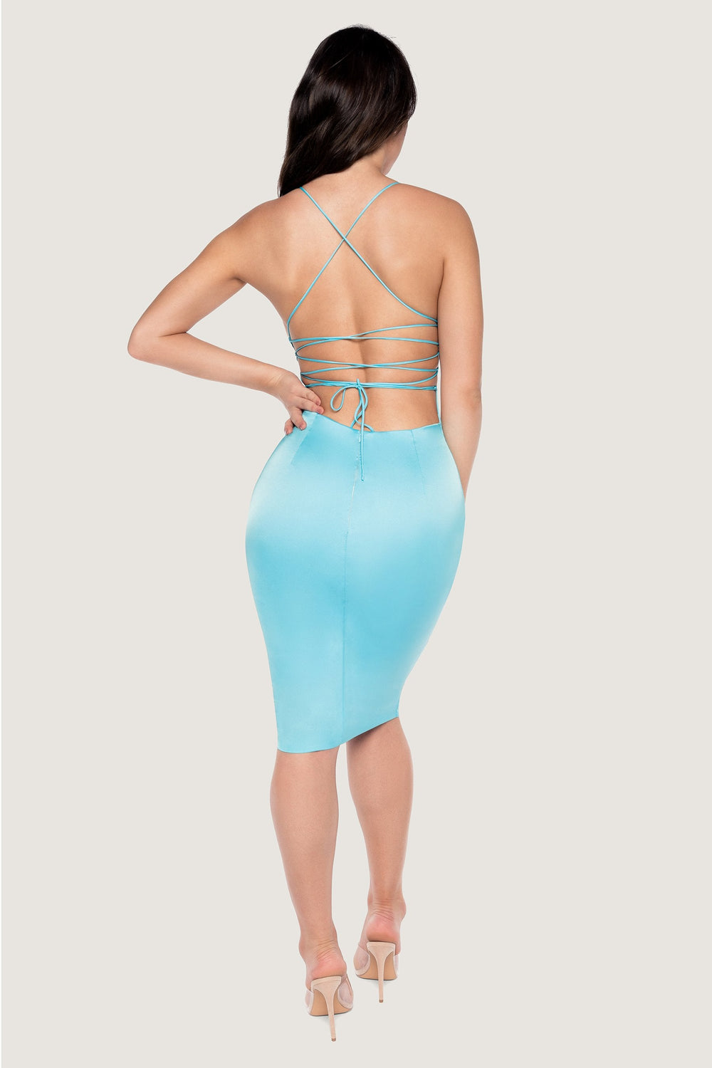 Bebe Thin Strap Lace Up Midi Dress - Baby Blue - MESHKI ?id=14612170670155