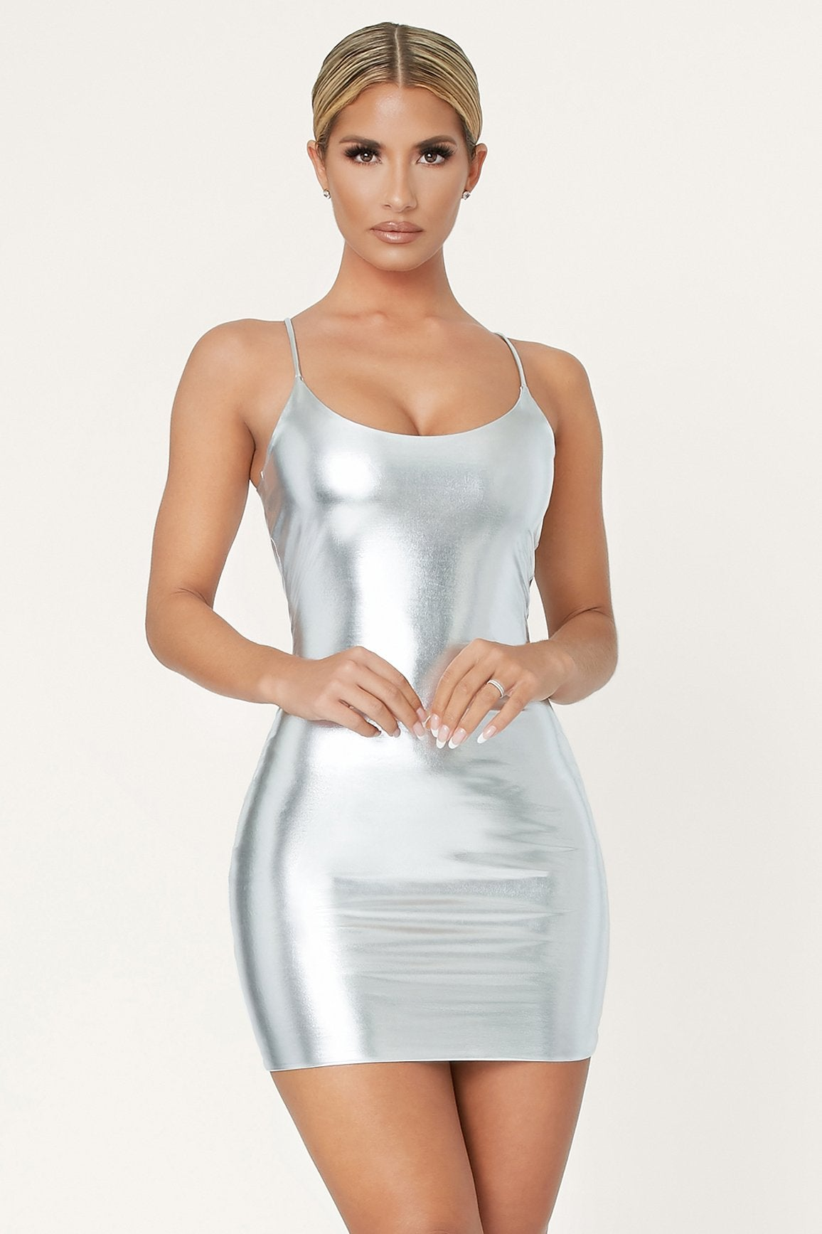 Zumi Metallic Bodycon Mini Dress - Silver - MESHKI
