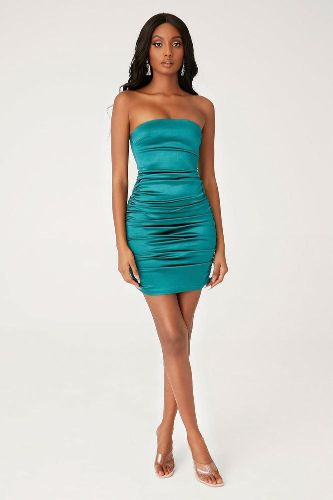 Bernadette Strapless Ruched Side Dress - Emerald - MESHKI
