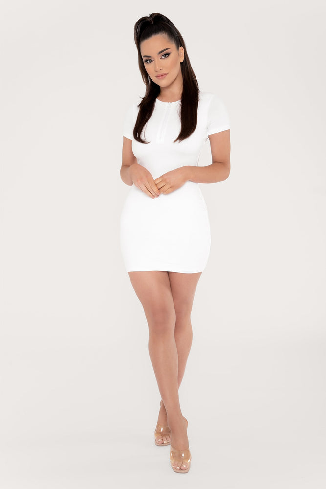 Delilah Zip Front Short Sleeve Mini Dress - White - MESHKI