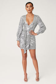 Chrissa Sequin Long Sleeve Wrap Mini Dress - Silver - MESHKI ?id=13858101690443
