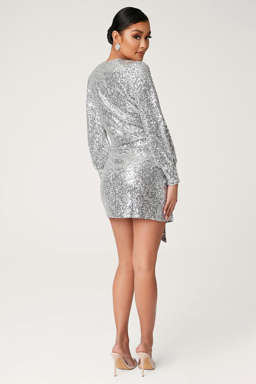 Chrissa Sequin Long Sleeve Wrap Mini Dress - Silver - MESHKI ?id=13858101821515