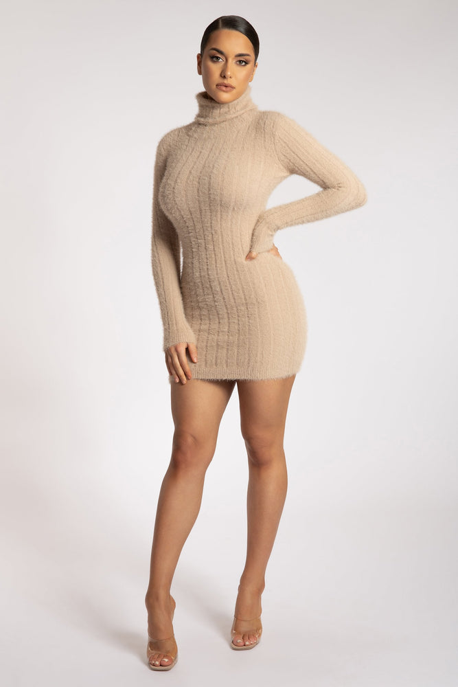 Ella Roll Neck Long Sleeve Fluffy Stripe Mini Dress - Caramel - MESHKI