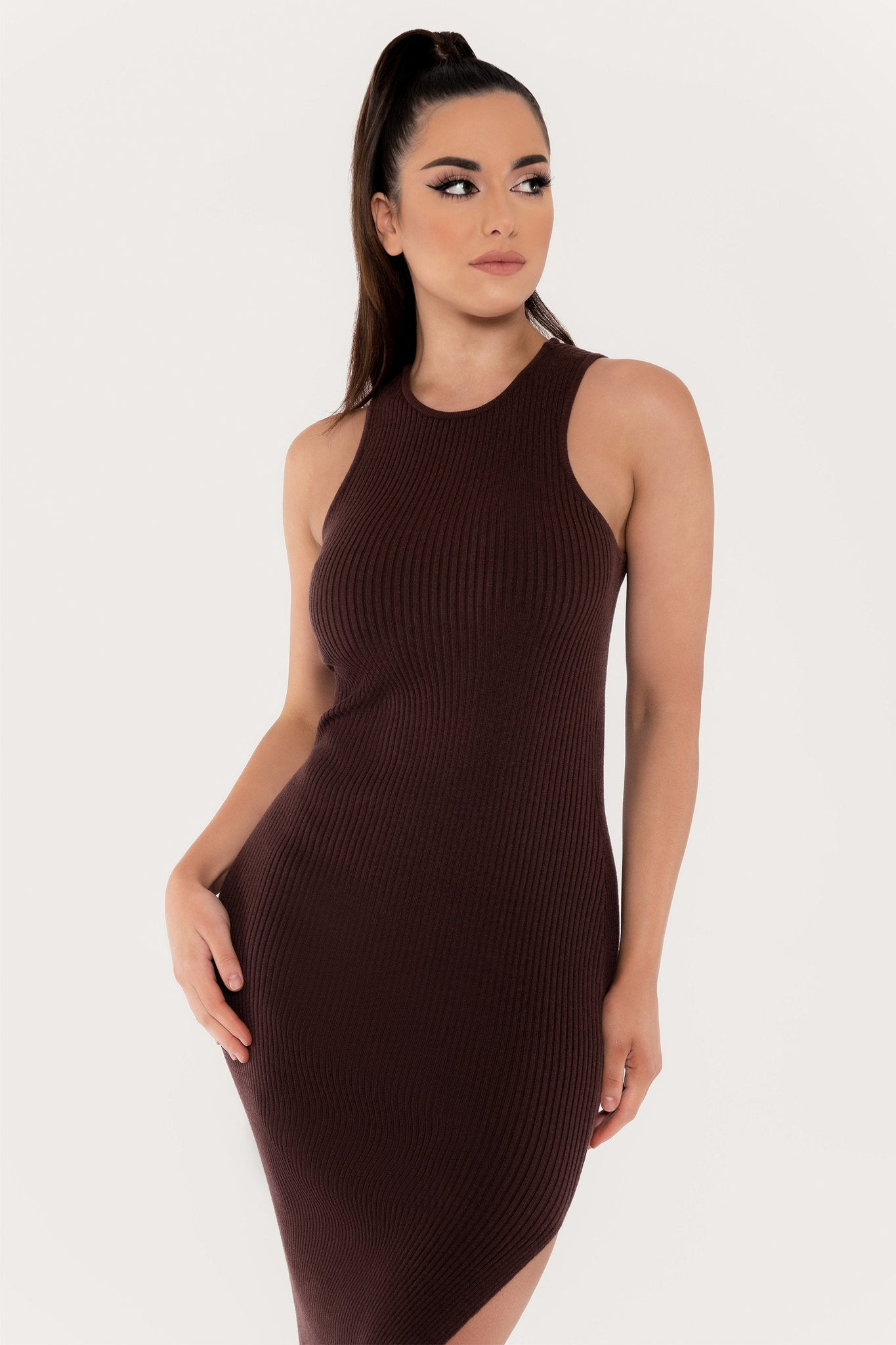 Sienna Sleeveless Ribbed Midi Dress - Chocolate