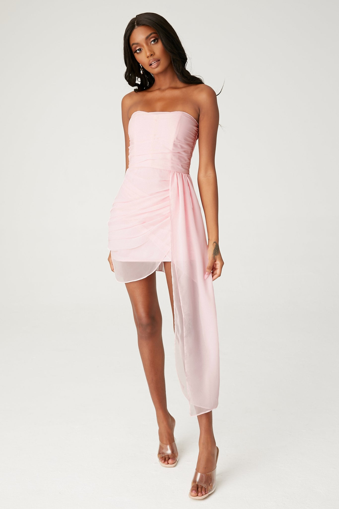Kallah Draped Wrap Mini Dress - Blush - MESHKI
