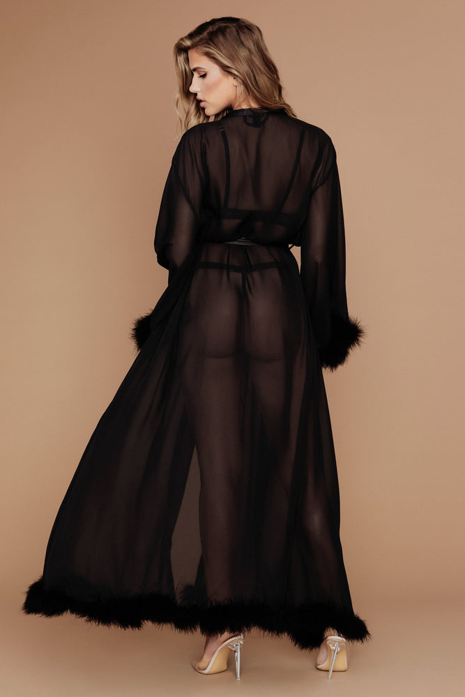 Clara Long Feather Trim Robe - Black - MESHKI