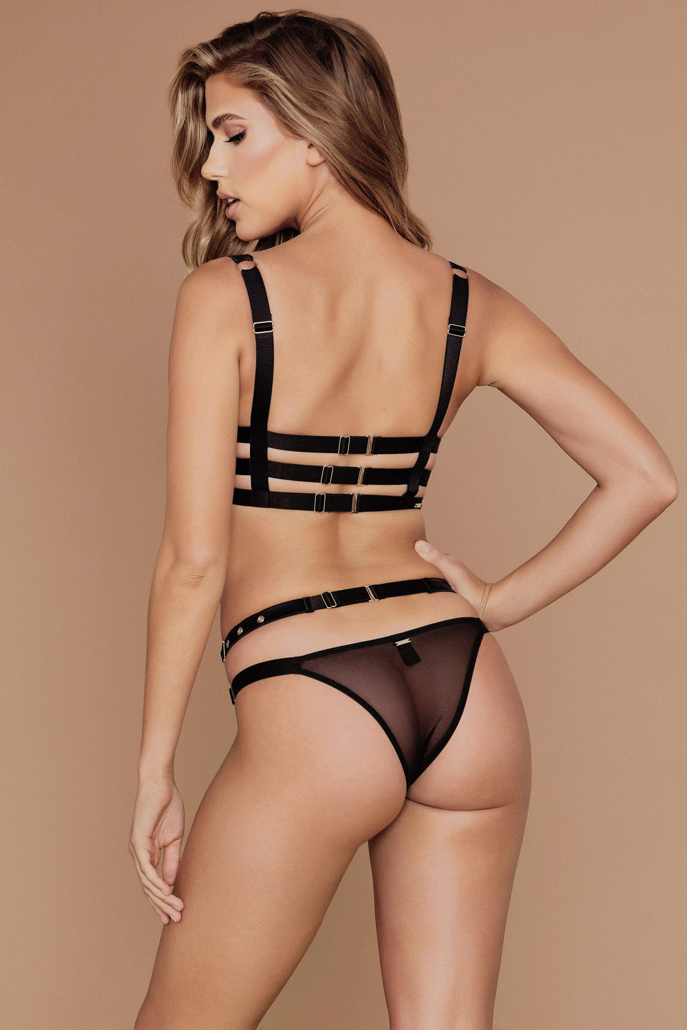 Alison Satin Buckle Brazilian Briefs - Black - MESHKI ?id=4077494042699
