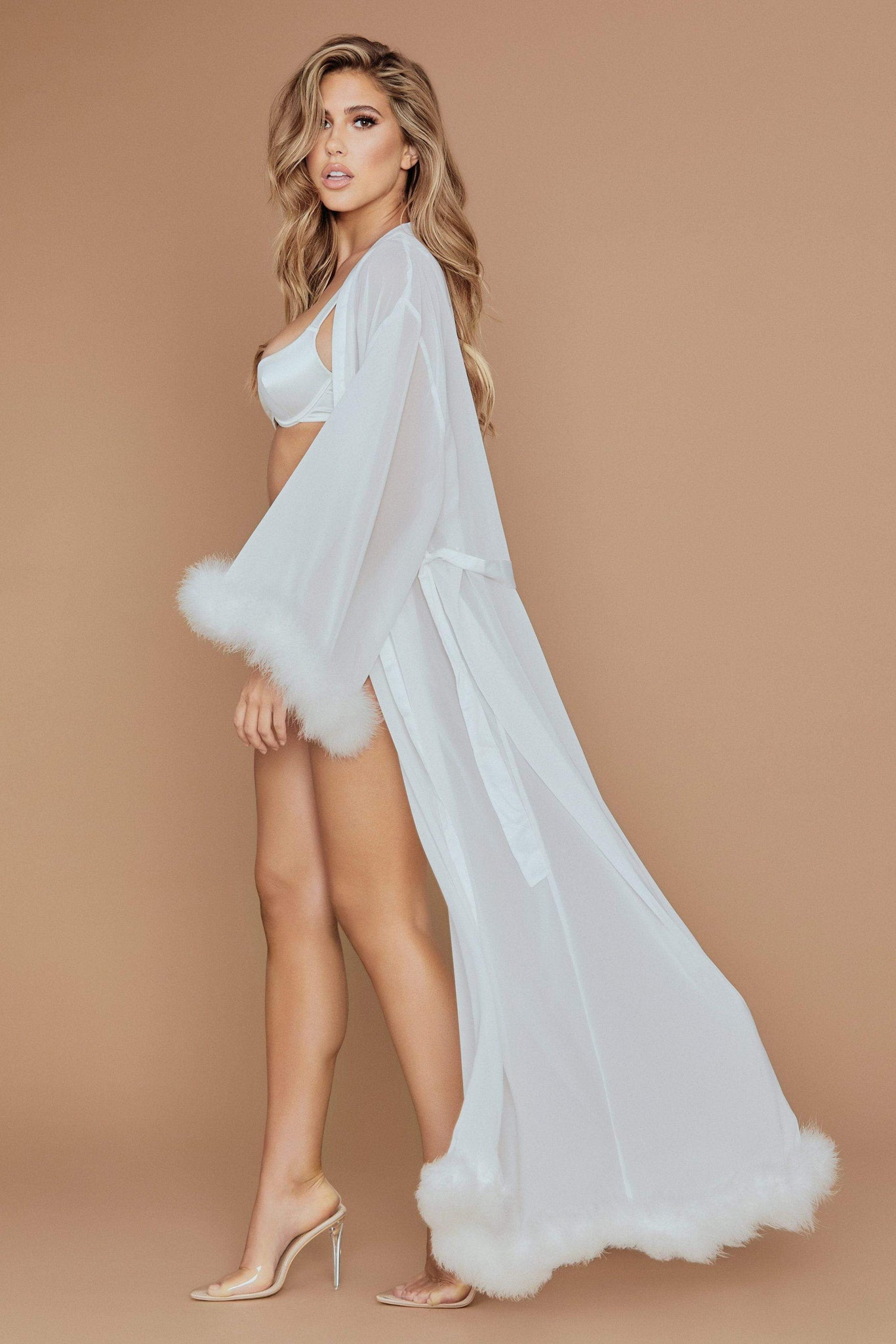 Clara Long Feather Trim Robe - Ivory - MESHKI