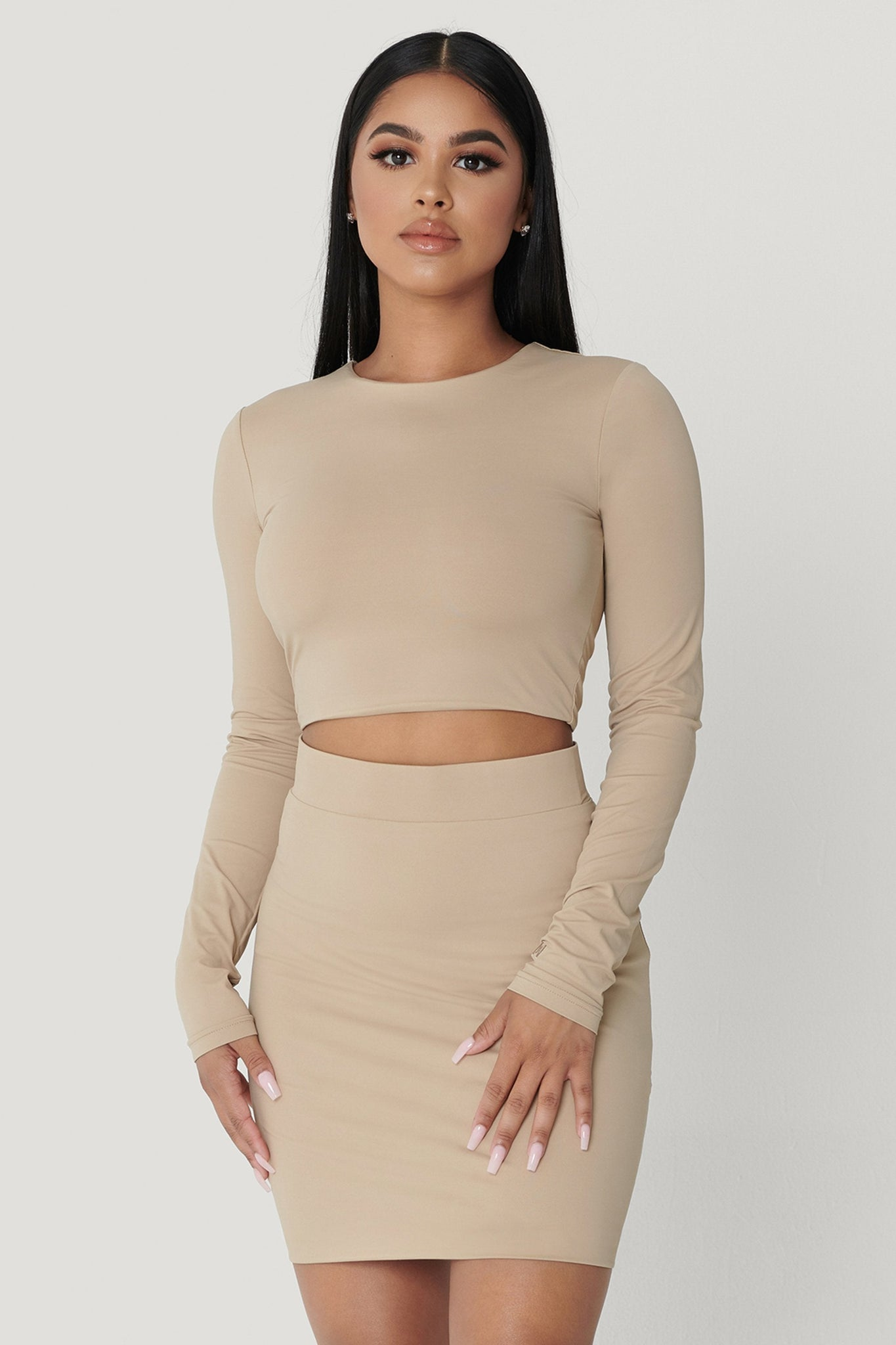 Emely Long Sleeve Crop Top  - Almond - MESHKI