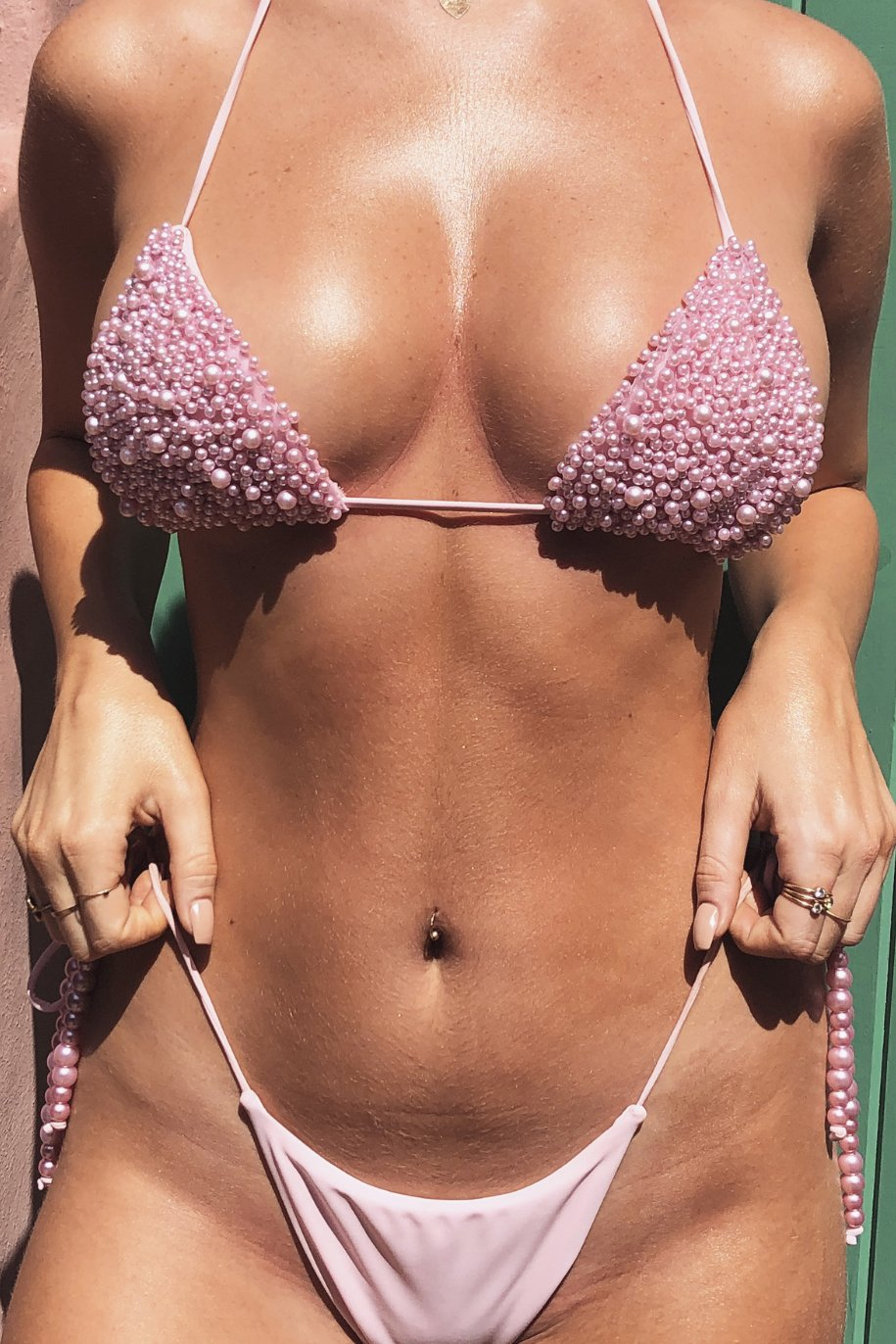 Arabella Pearl Triangle Tie Up Bikini Top - Pink - MESHKI