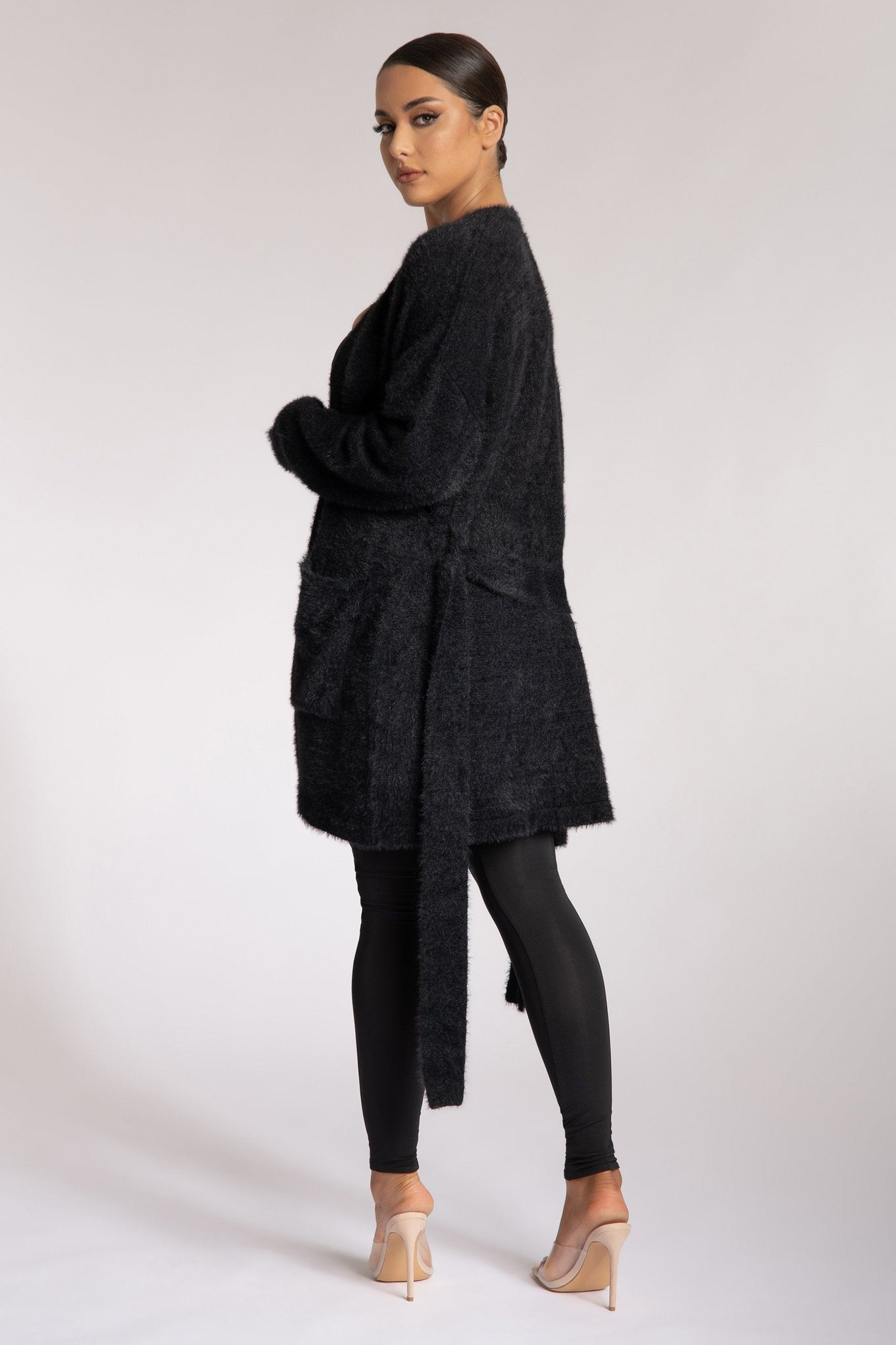 Siobhan Long Line Fluffy Cardigan - Black - MESHKI