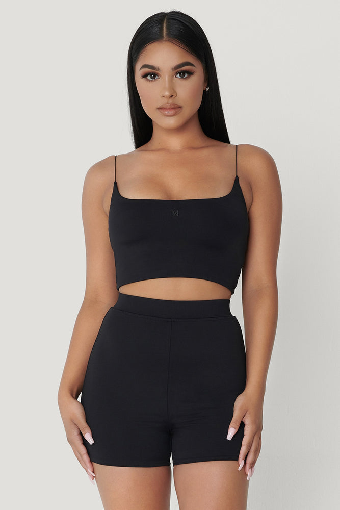 Kaiya Thin Strap Scoop Neck Crop Top - Black - MESHKI