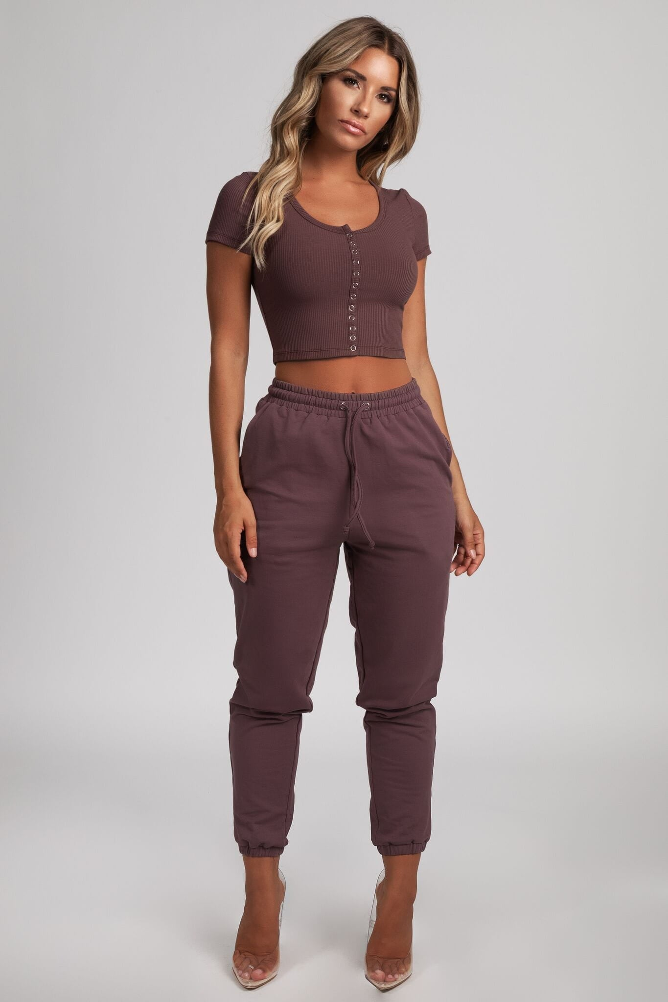 Basia Button Up Crop Top - Mauve - MESHKI