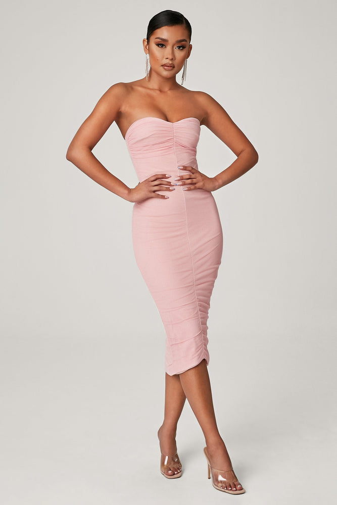 Corella Strapless Ruched Midi Dress - Pink - MESHKI