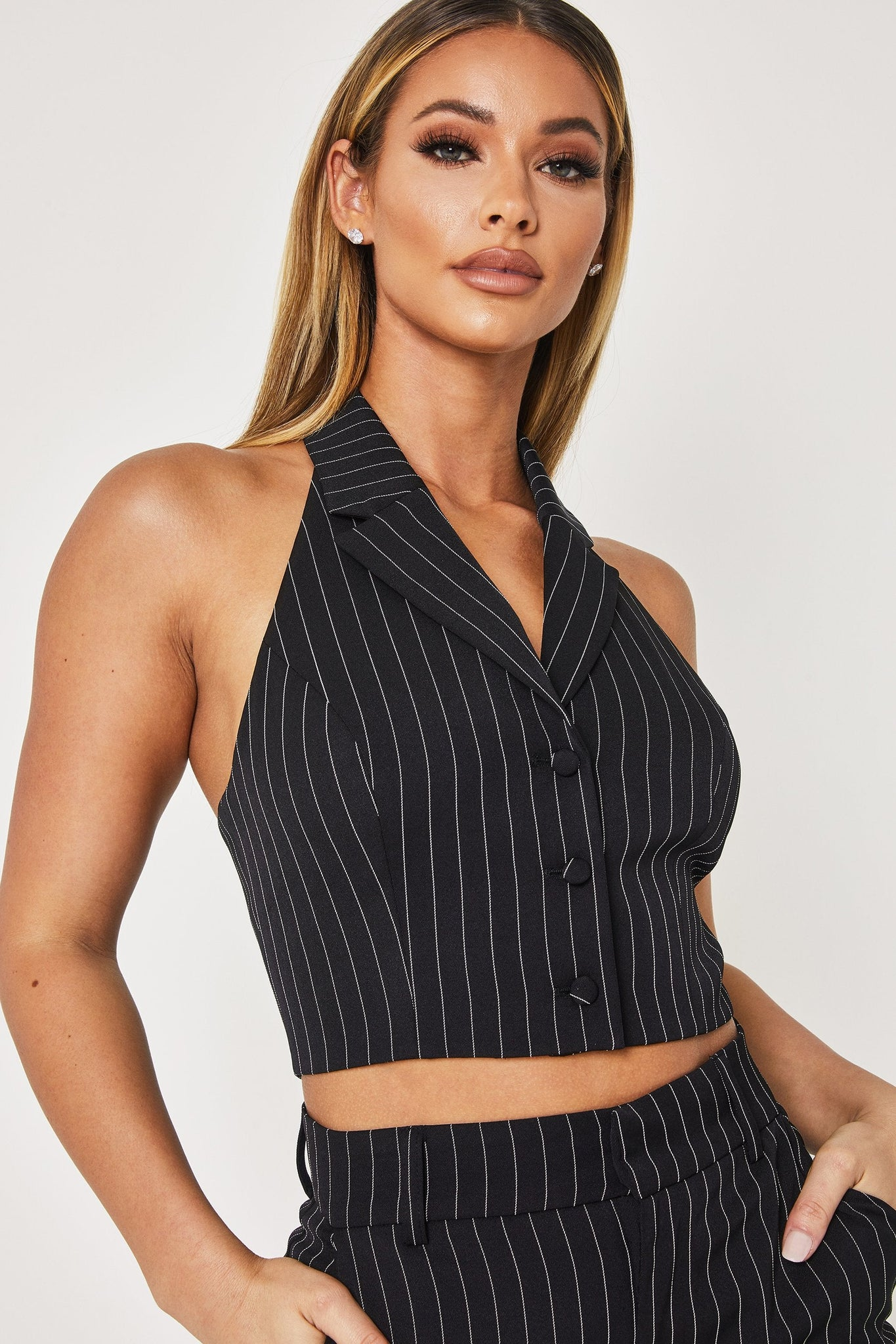 Crystal Collared Halter Crop Top - Pinstripe - MESHKI