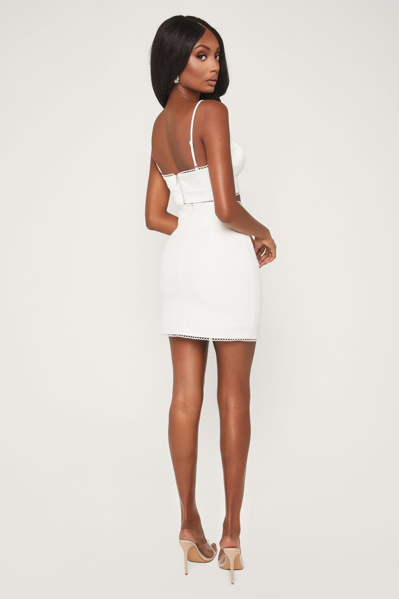 Lessie Lace Trim Mini Skirt - White - MESHKI