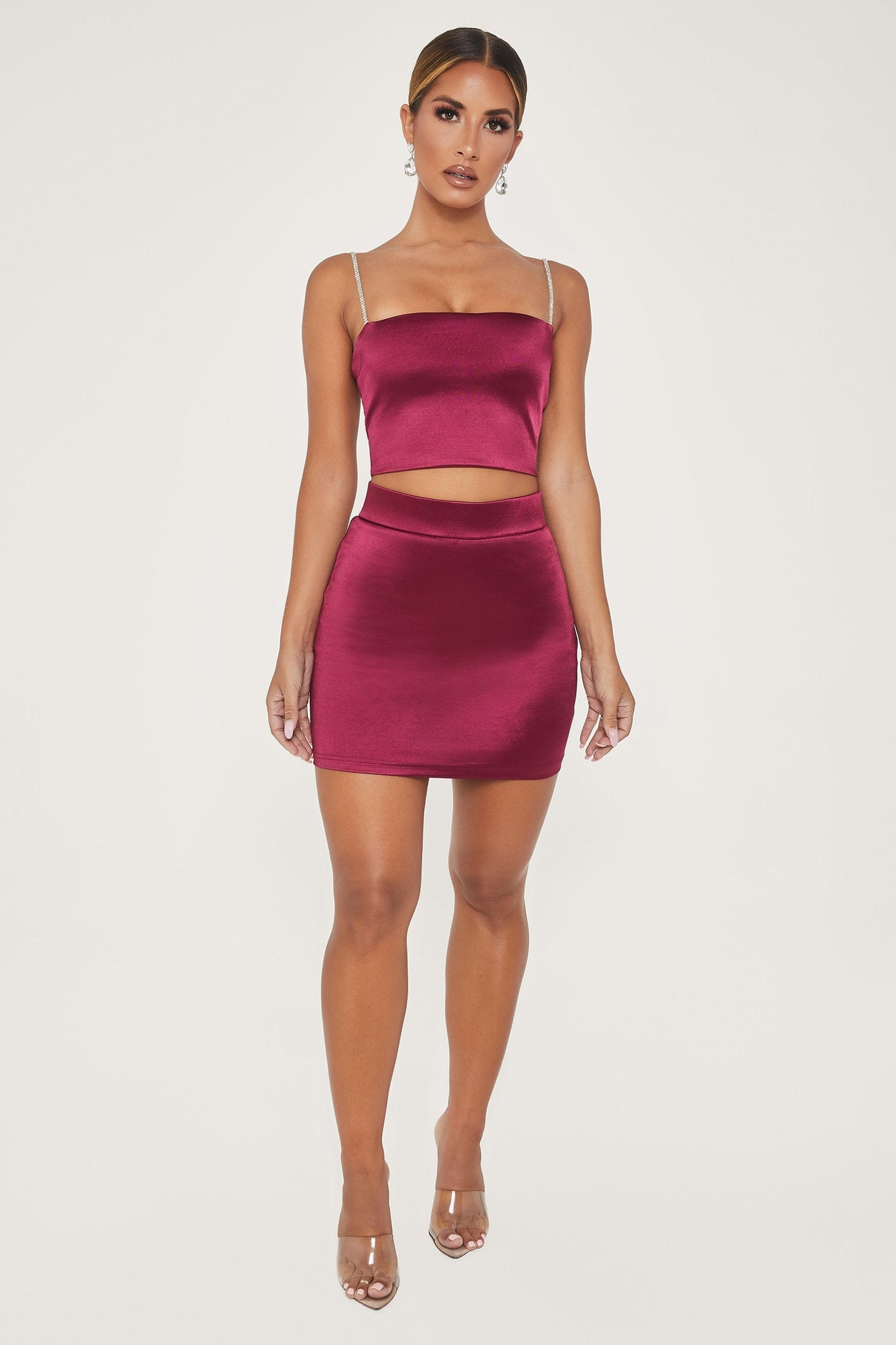 Naomi Satin Mini Skort - Burgundy - MESHKI
