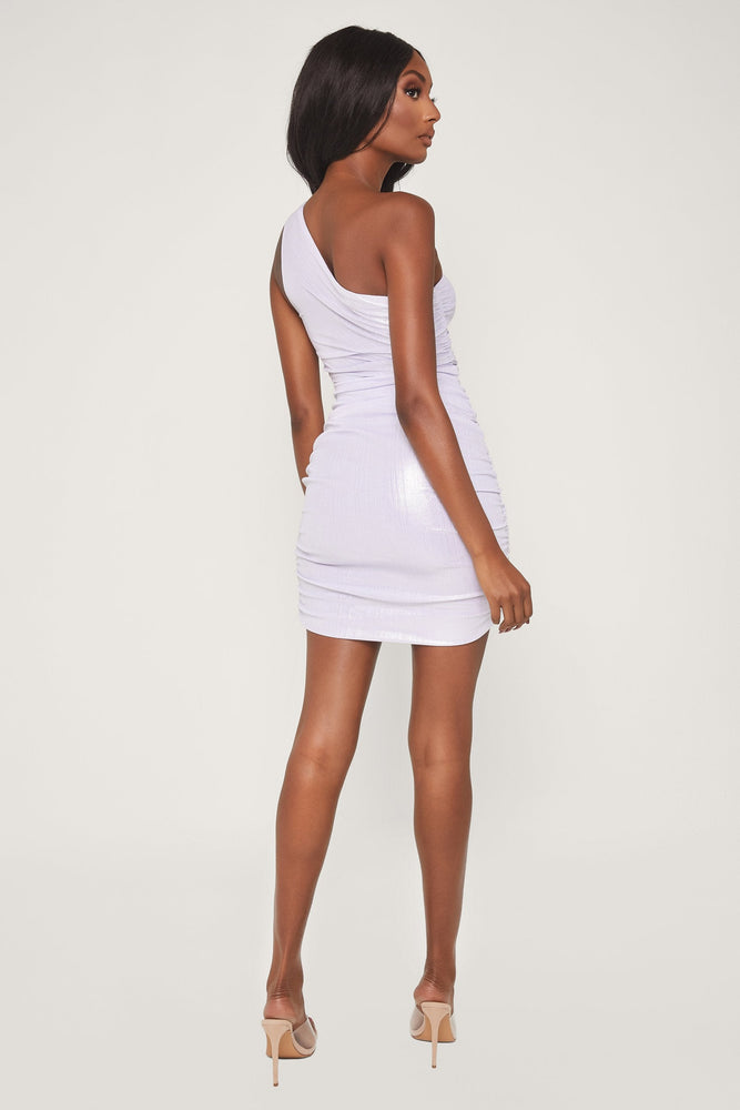 Kaelin One Shoulder Ruched Mini Dress - Silver - MESHKI