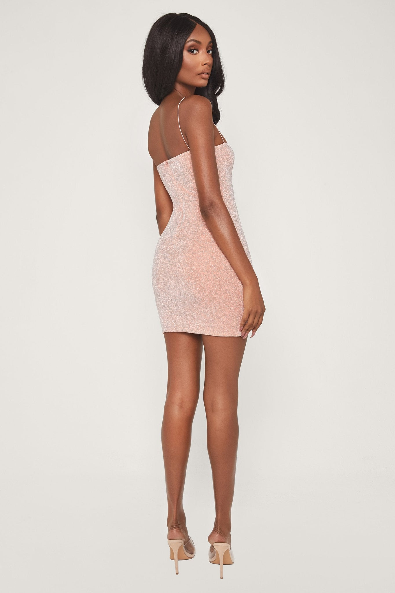 Mia Thin Strap Shimmer Dress - Apricot - MESHKI