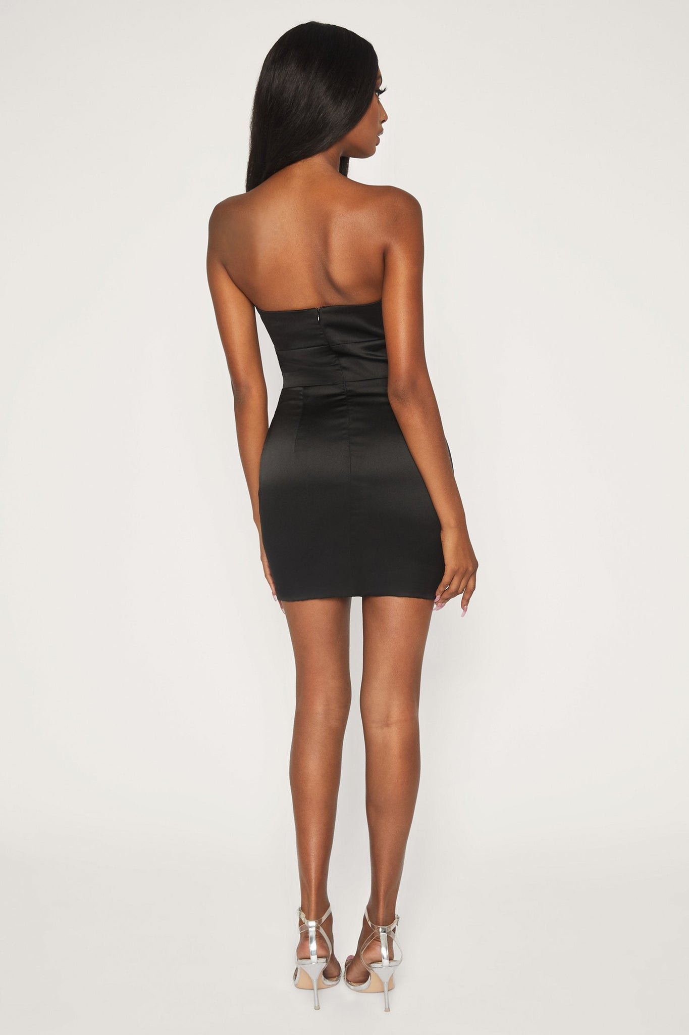 Seona Strapless Diamante Buckle Mini Dress - Black - MESHKI
