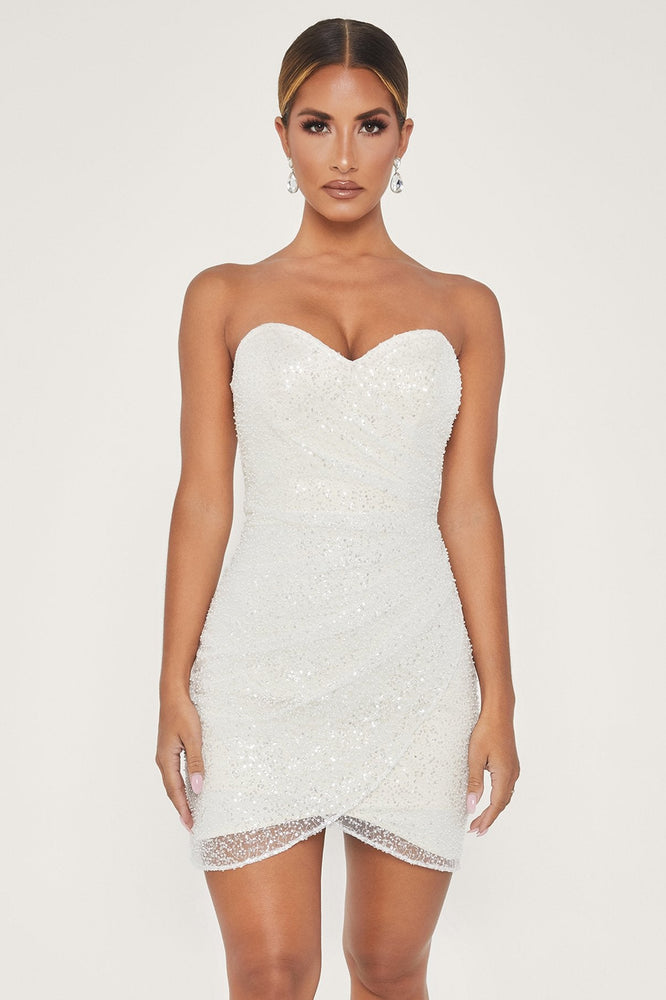 Pearla Embellished Strapless Wrap Mini Dress - White - MESHKI