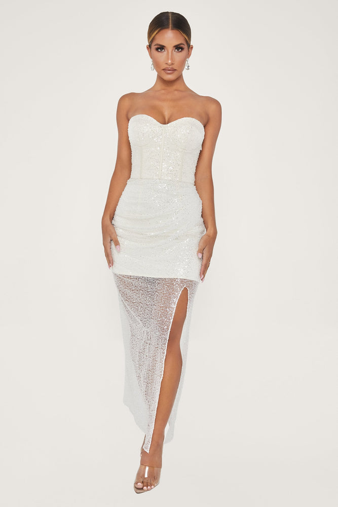 Ellia Embellished Strapless Maxi Dress - White - MESHKI