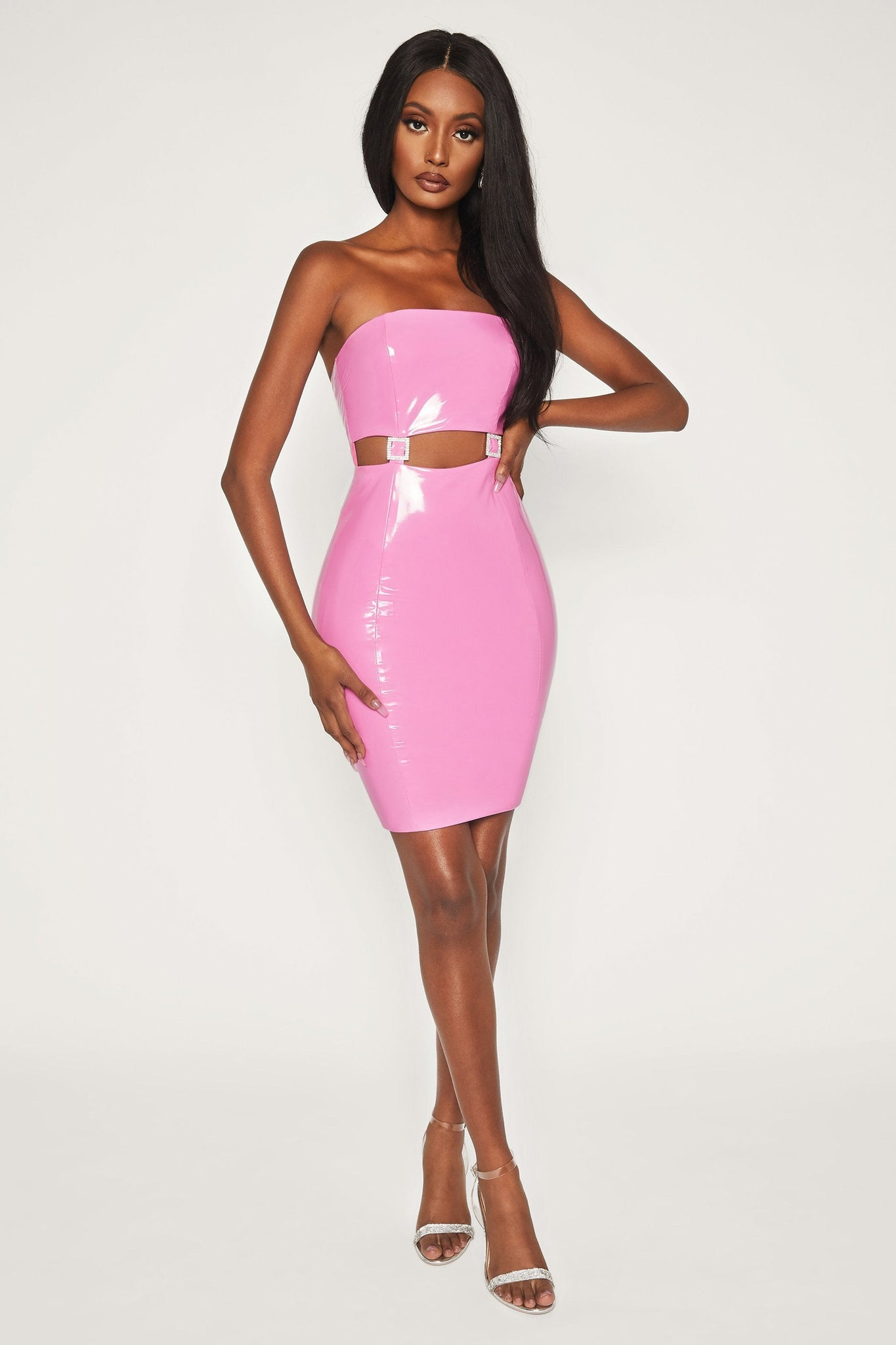 Jennifer Latex Cut Out Mini Dress - Pink - MESHKI