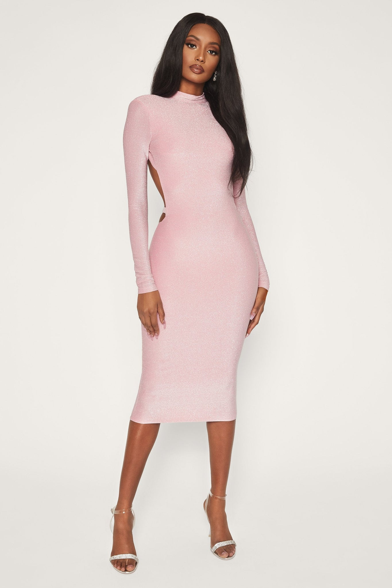 Armelle Long Sleeve High Neck Dress - Pink - MESHKI