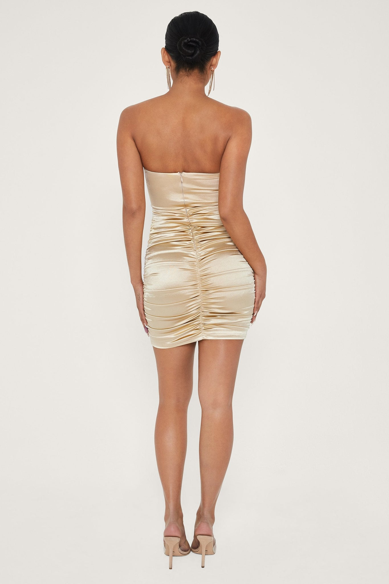 Bernadette Strapless Ruched Side Dress - Champagne - MESHKI