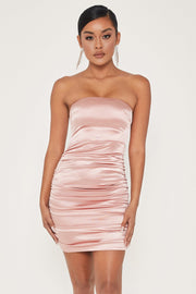 Bernadette Strapless Ruched Side Dress - Pink - MESHKI ?id=13584876372043