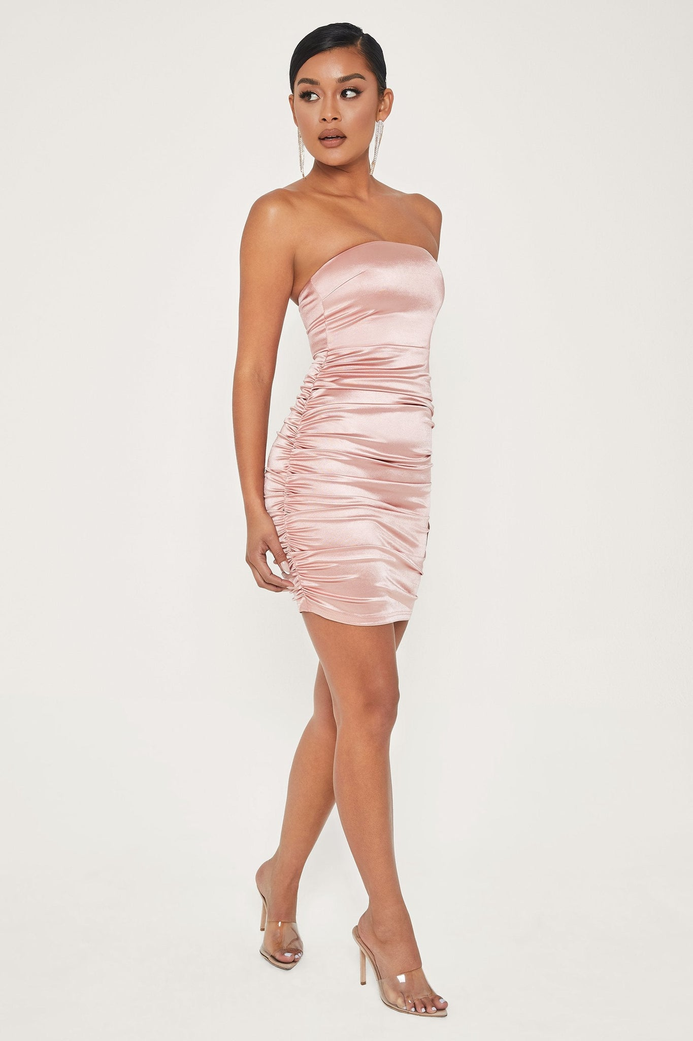 Bernadette Strapless Ruched Side Dress - Pink - MESHKI