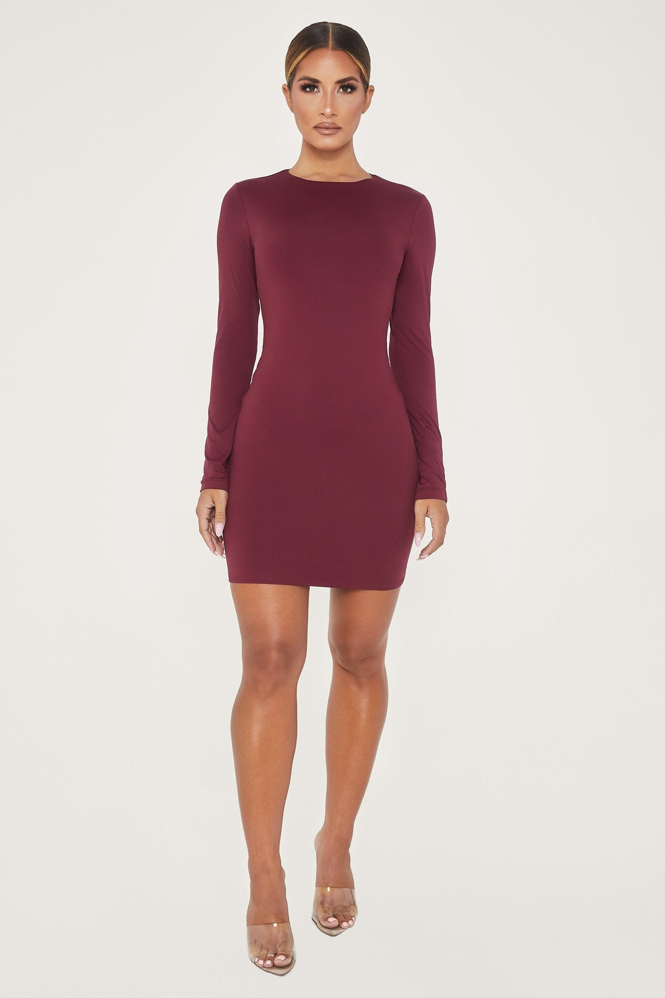 Rayne Long Sleeve Mini Dress - Burgundy - MESHKI