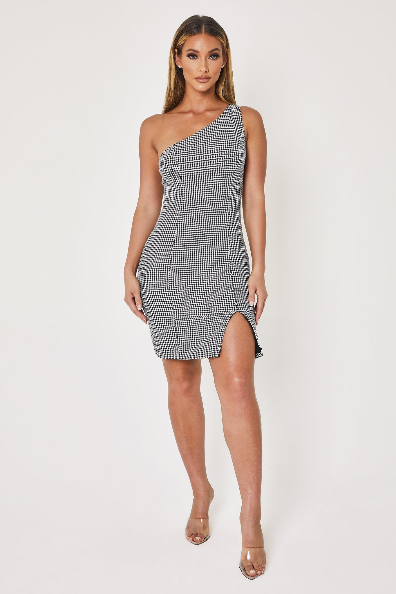 Yasmine One Shoulder Mini Dress - Houndstooth - MESHKI