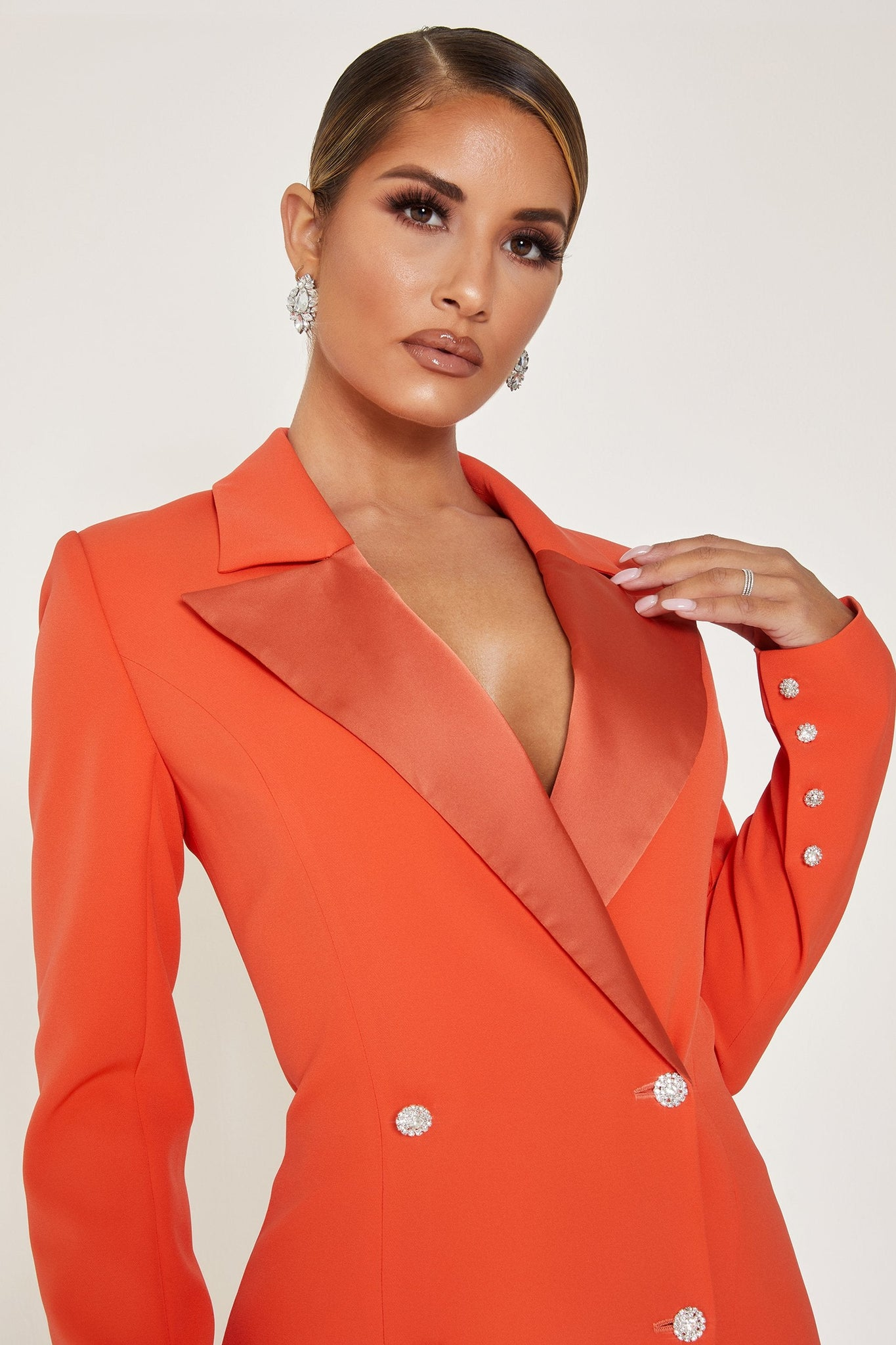 Rebekah Contrast Lapel Double Breasted Blazer Dress - Orange - MESHKI