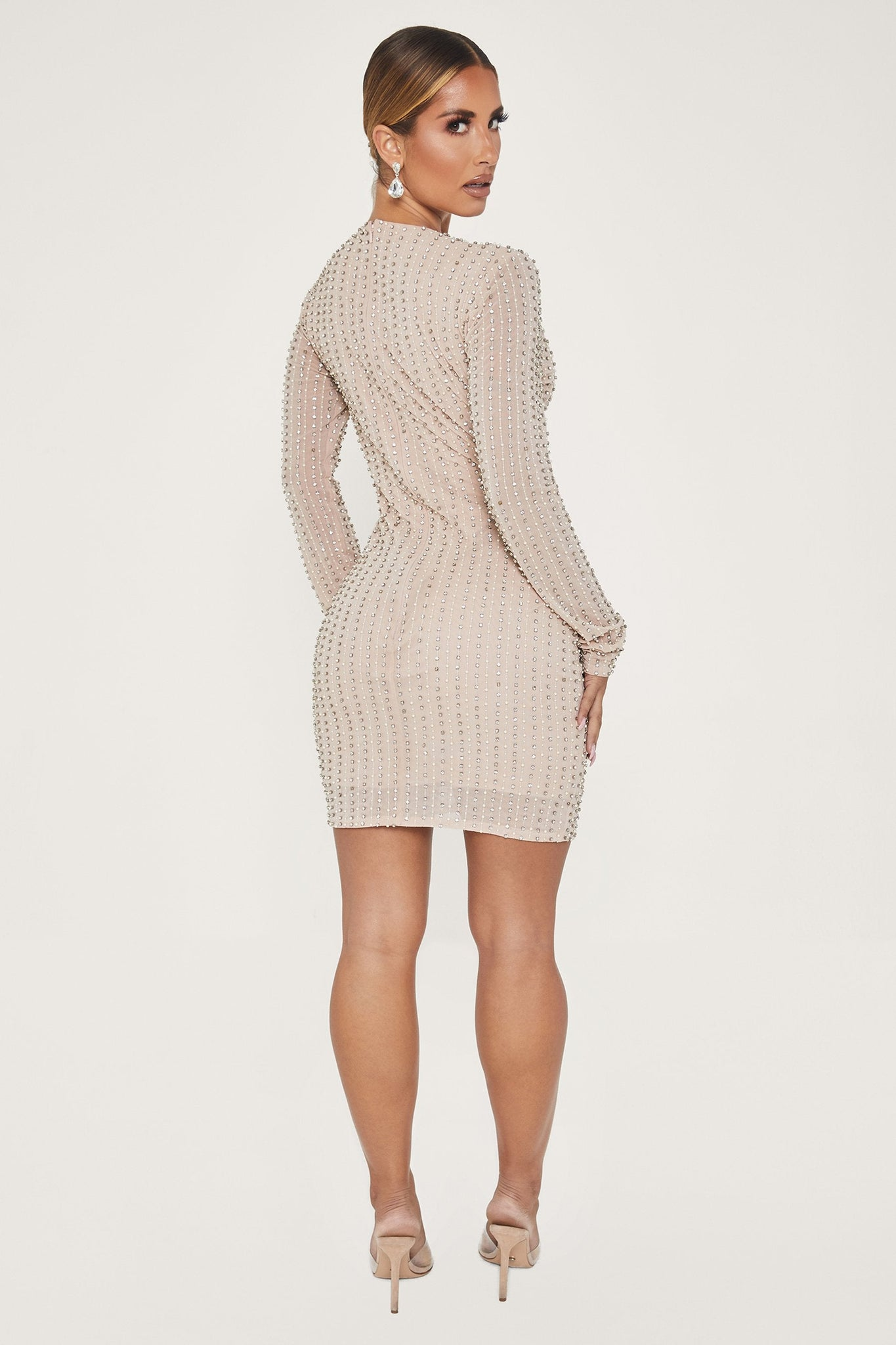 Rada Embellished Long Sleeve Bodycon Dress - Nude - MESHKI