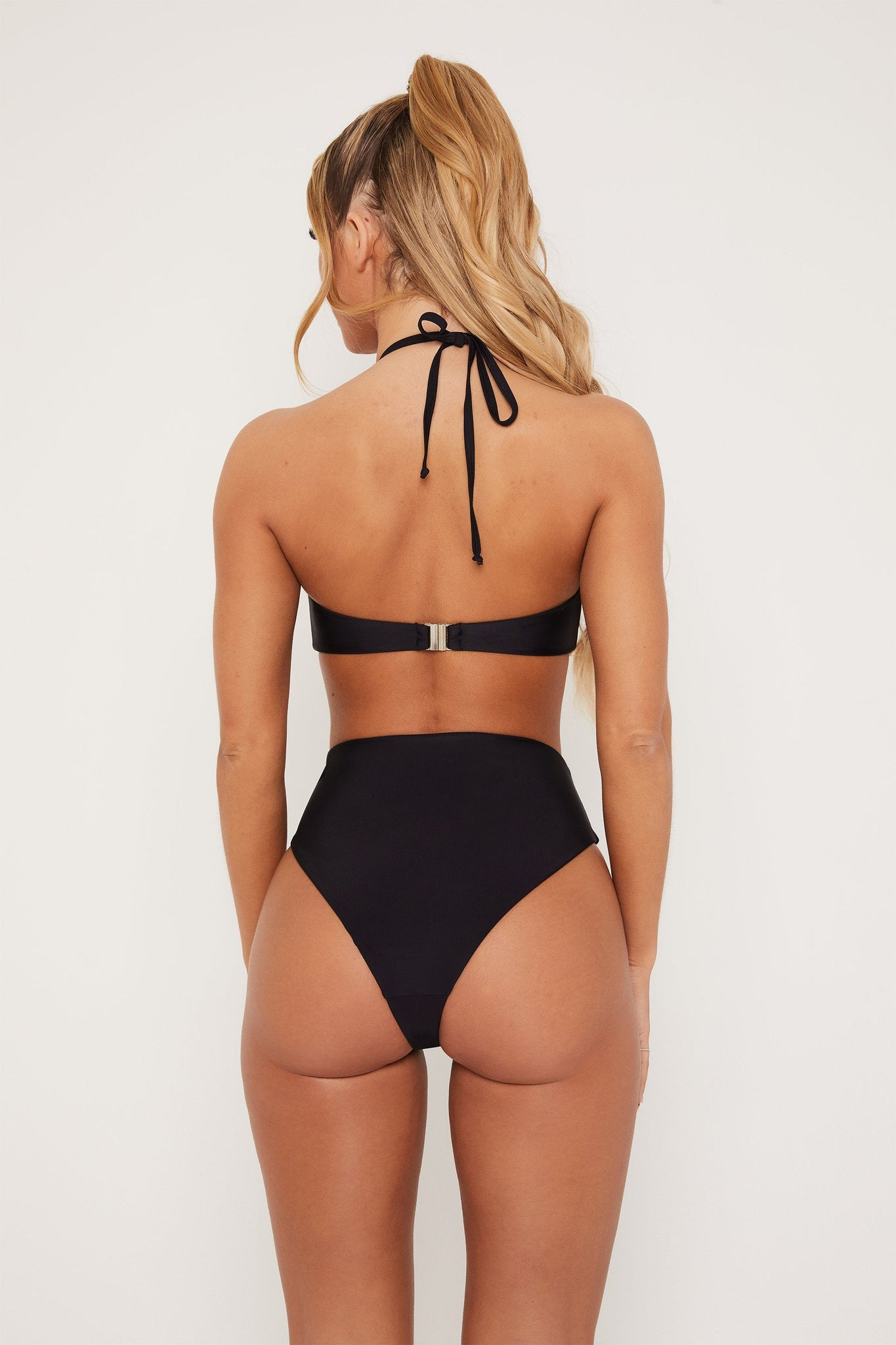 Maleah High Waisted Cut Out Bikini Bottom - Black - MESHKI