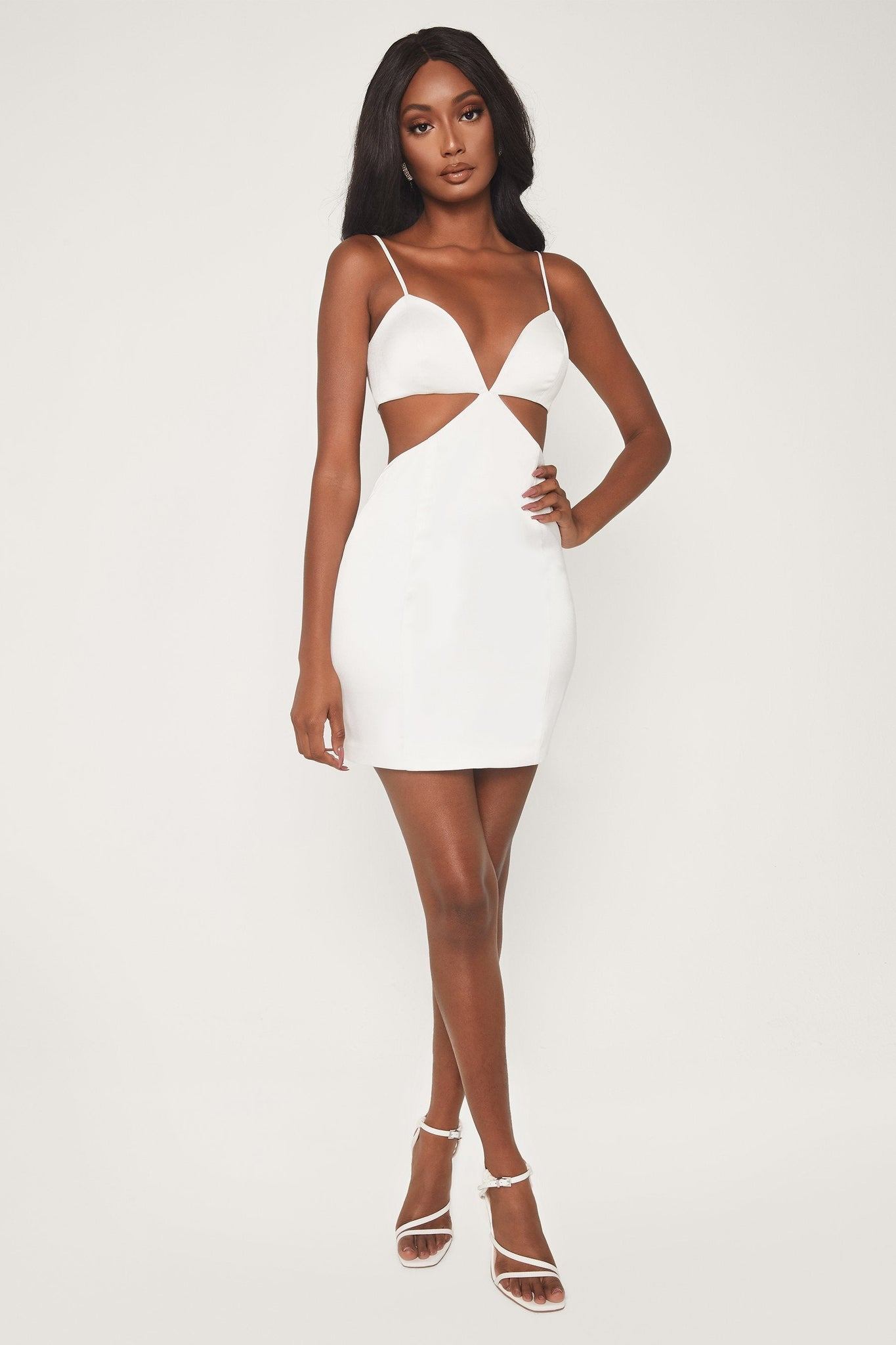 Deeda Strappy Bodycon Mini Dress - White - MESHKI