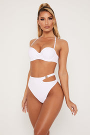 Maleah High Waisted Cut Out Bikini Bottom - White - MESHKI ?id=15571060785227