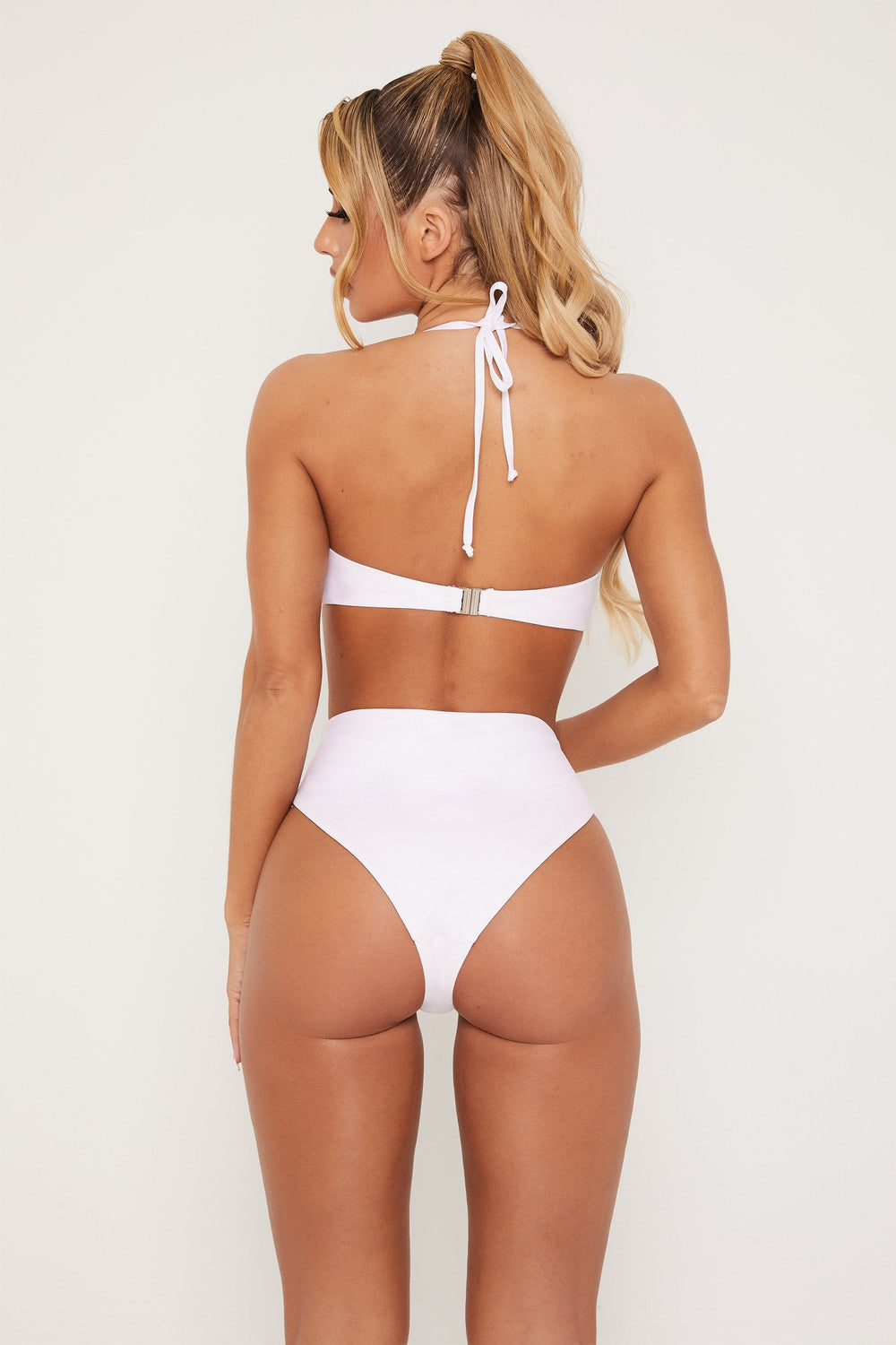 Maleah High Waisted Cut Out Bikini Bottom - White - MESHKI ?id=15571060850763