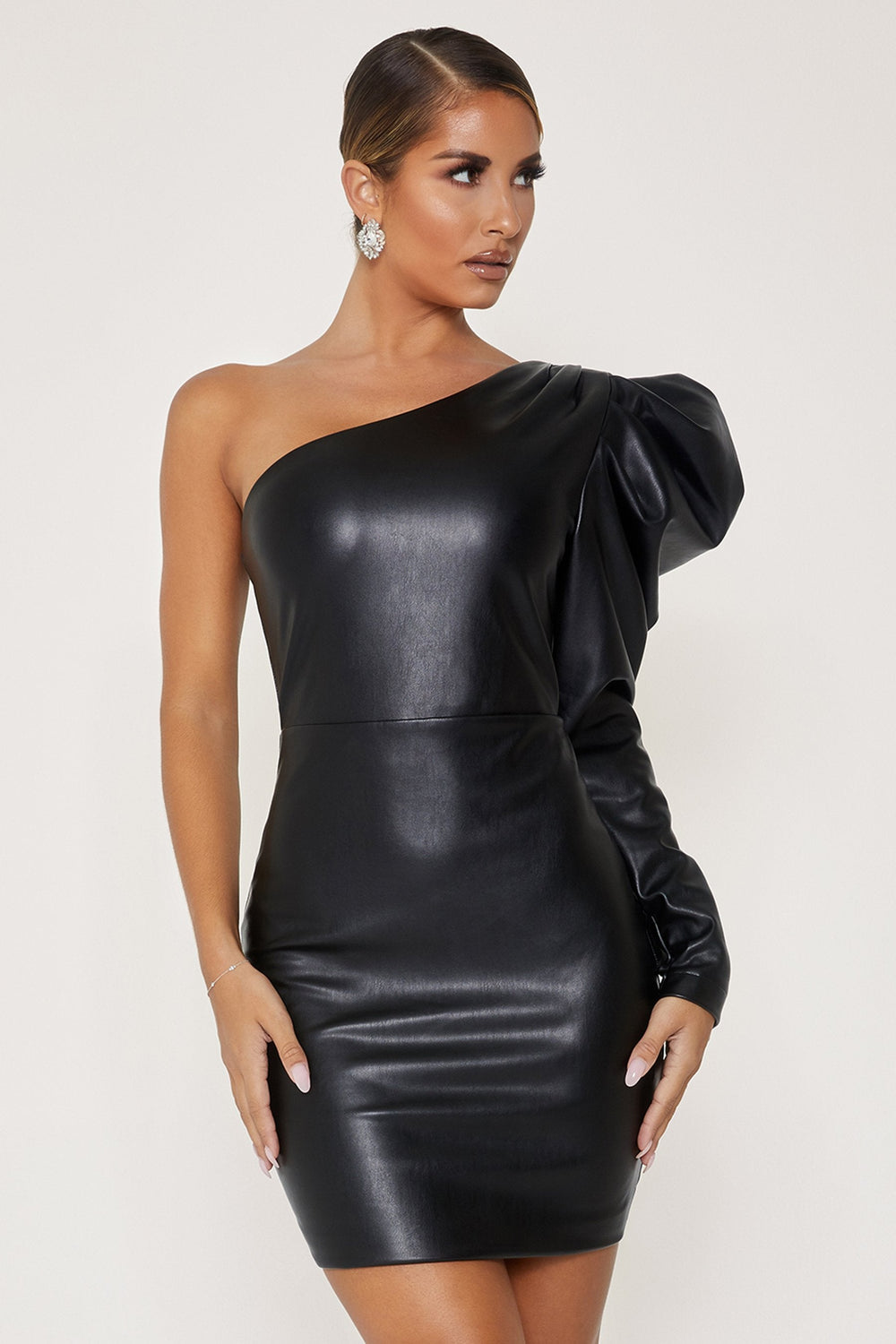 Ataya Leatherette One Shoulder Puff Sleeve Dress - Black - MESHKI ?id=12803595108427